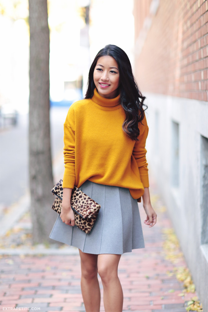 mustard sweater grey skirt outfit 2