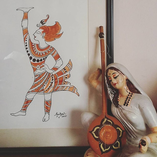 #Meerabai , lost in devotion, sings in front of a painting of #Krishna by the Lifetime Achievement awardee Keshav Venkataraghavan ji. He presented this #painting as a gift on the day of my wedding. Am I blessed or am I blessed?! :-) #home #decor #art