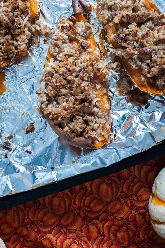Twice Baked Sweet Potatoes with Coconut Pecan Streusel 6