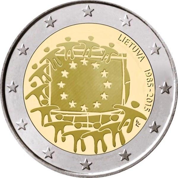 2 euro 2015 Litva UNC Európska vlajka