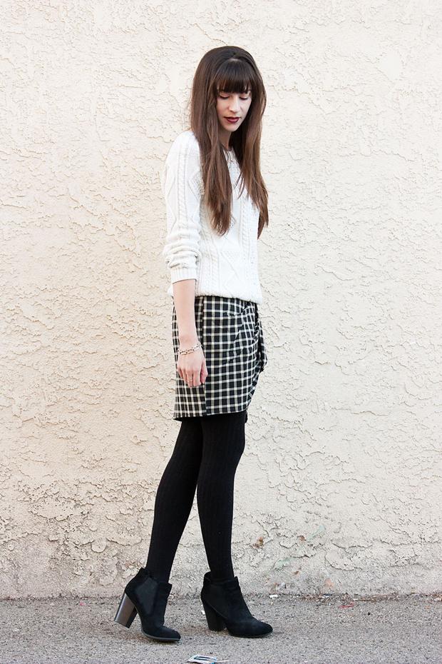 Greylin Plaid Skirt, White Sweater, Black Tights