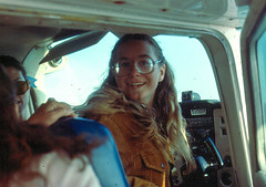 Laure in the co-pilot seat