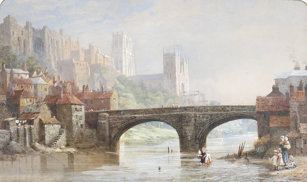 Durham Cathedral from Framwellgate Bridge by Louise Rayner, 1870-1880