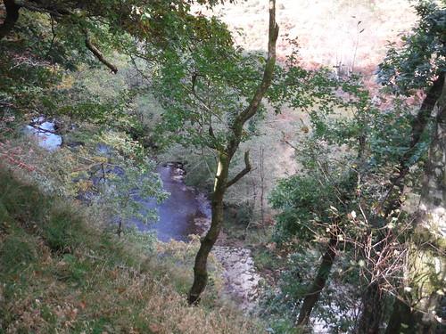 Afon Tawe down a steep cliff