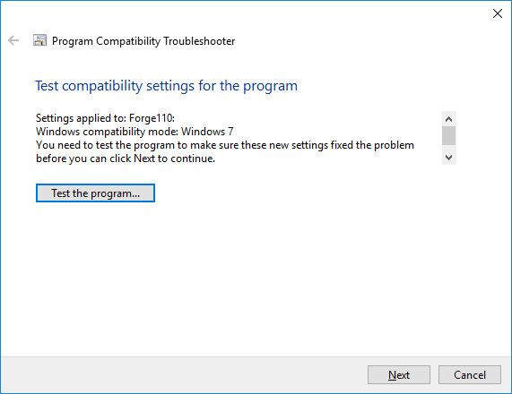 the Program Compatibility Troubleshooter