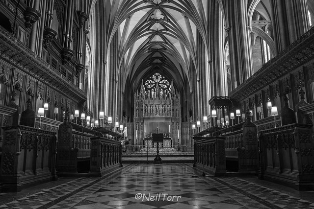 Bristol Cathedral Choir Stalls B&W