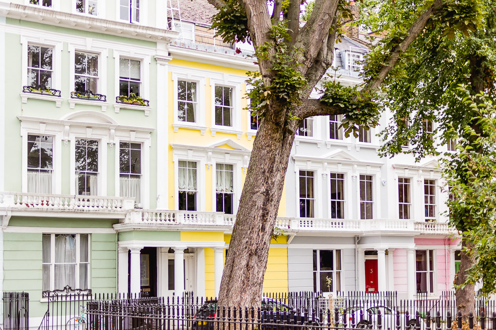 primrose hill london colourful houses square