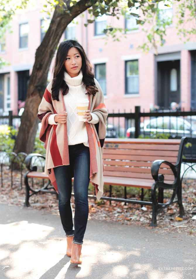 fall casual outfit plaid poncho ankle boots