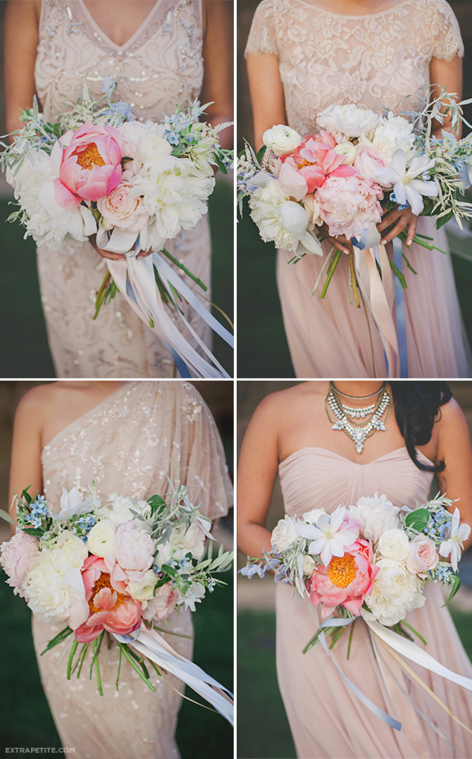 bhldn bridesmaid dresses bouquets