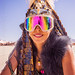 DSC02002 - Woman with Tribal Feather Headdress and Mirror Goggles - Burning Man 2015