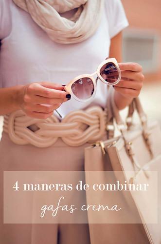 4 maneras de combinar unas gafas de color crema