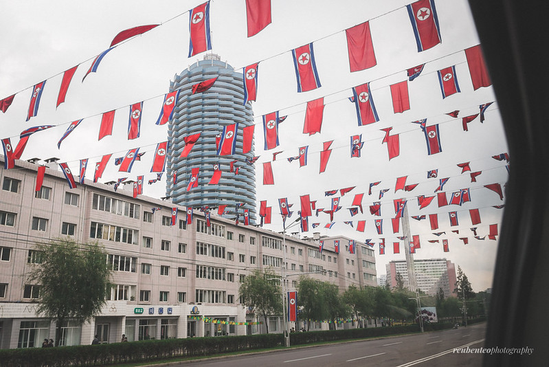 North Korean Flags across Pyongyang