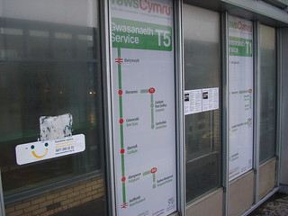 Aberystwyth bus station T5 branding