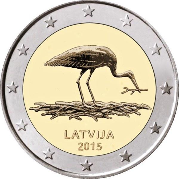 2 euro 2015 Lotyšsko UNC Bocian čierny