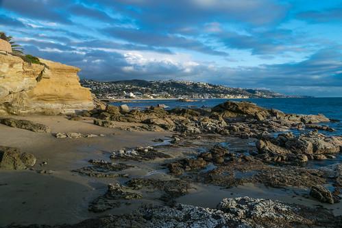 ocean california sky cliff beach clouds geotagged sand nikon rocks unitedstates pacificocean tidepools goldenhour lagunabeach nikond5300