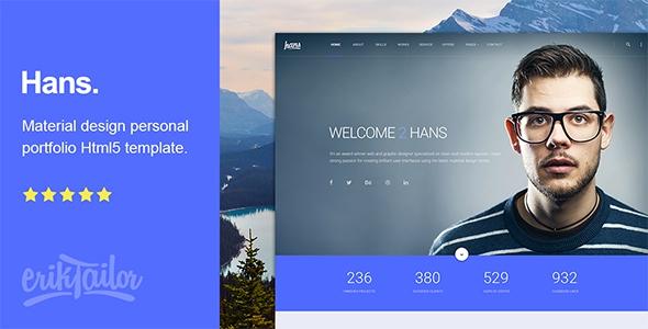Hans v1.0.0 - Material Design Personal Portfolio Html Template