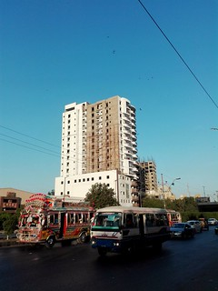 Shahrah-E-Faisal, The City Banquet, Two Buses (9C & Y), An Under Construction Building & The Clear Blue Sky
