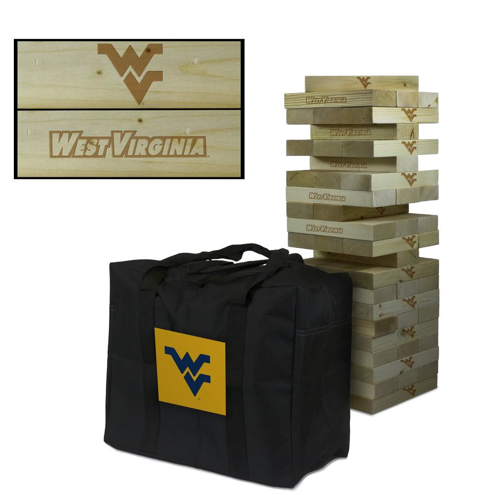 west virginia mountaineers wooden tumble tower game