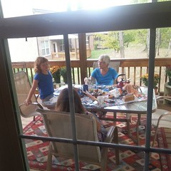 My daughter and my mom having a tea party today.