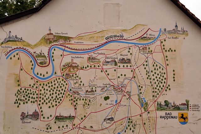 Bad Rappenau Fünfmühlenweg Wanderweg wandern Plan auf Hauswand
