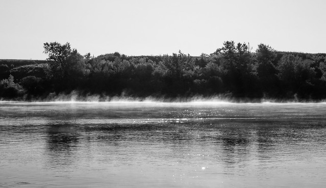 early morning river fog