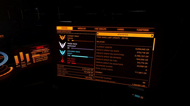 Result of a few hours on elite dangerous