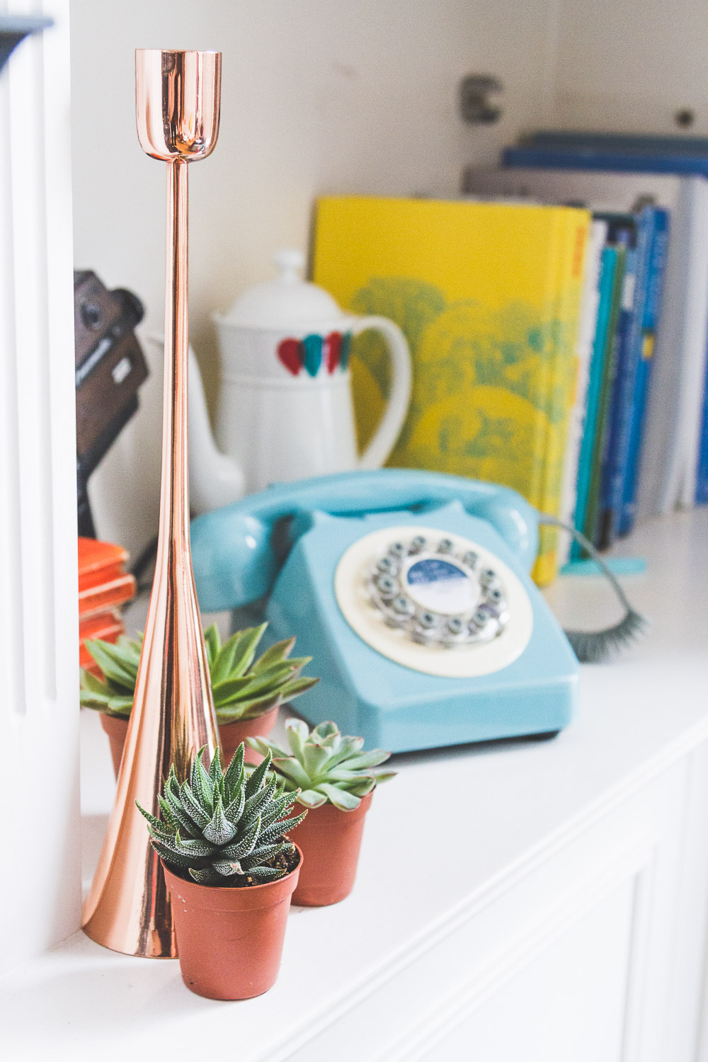 midcentury style colourful home blue telephone