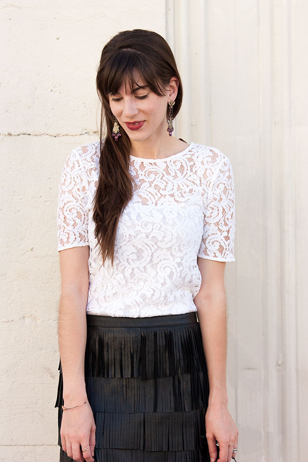 White Lace Tee, Leather Fringe Skirt, Statement Earrings