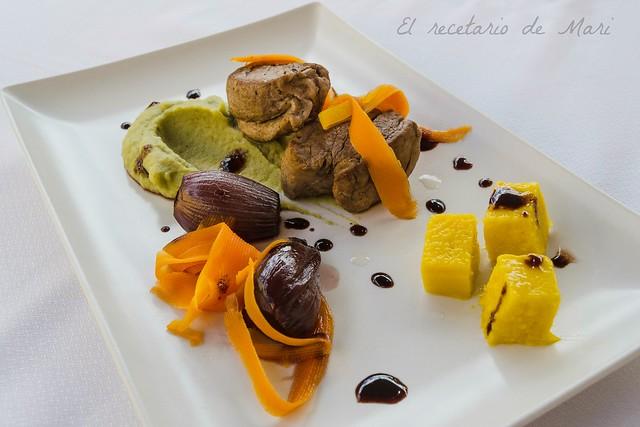 centro de solomillo ibérico con cremoso de garbanzos y gel de mango 2