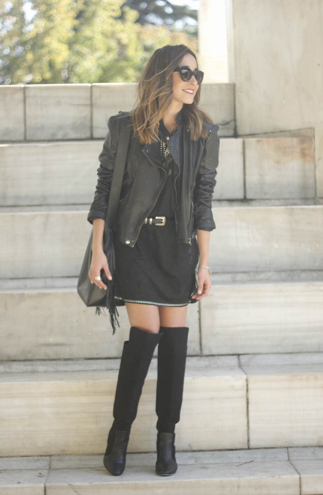 Black Leather jacket With Suede Black Dress Over the knee boots22