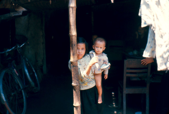 Vietnam War 1966 - Portrait of Local Girl and Baby