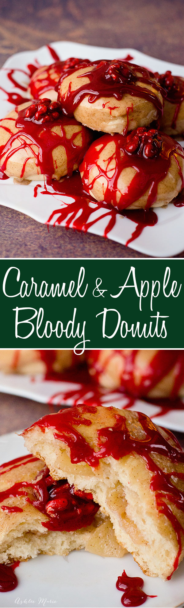 create your own bloody brain doughnuts for halloween with this full video tutorial and recipes. Toasted walnut brain, caramel sauce blood, over a delicious apple pie filled raised doughnut.