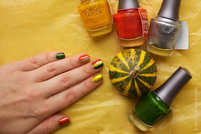 10 Morgan Taylor Chrome Collection Chrome Base, Ivy Appliqué, AmberRushAppliqué, Sunset Yellow Appliqué swatches by Ann Sokolova