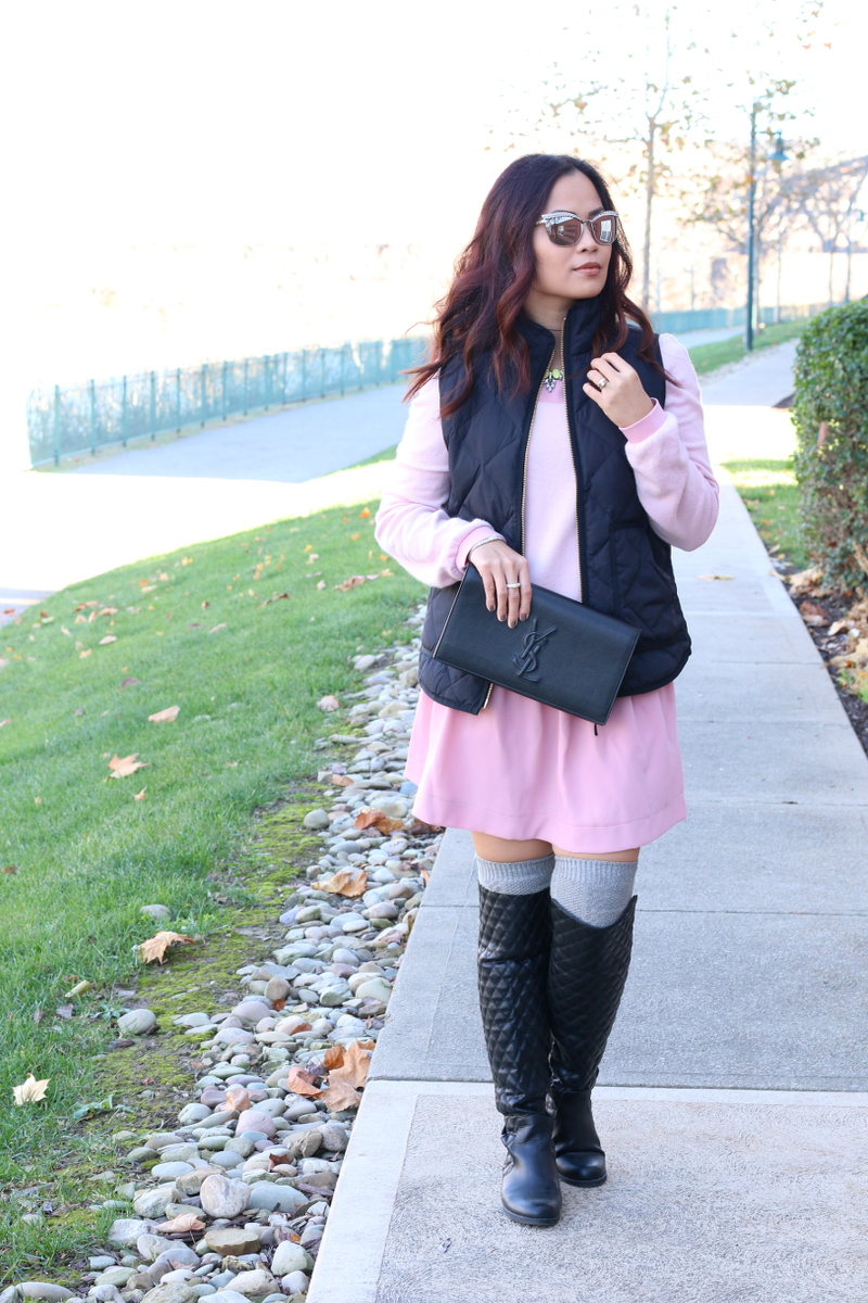 lattori-pink-dress-over-the-knee-boots-ysl-clutch-3