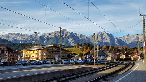 mountains love beautiful outdoors austria tirol colorful outdoor trainstation daytrip gebirge traintrax seefeldintirol