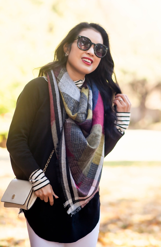 cute & little blog   petite fashion   fringe blanket scarf, express sweater, white jeans, red hunter boots, striped turtleneck   fall winter outfit - After Christmas Sales by Dallas fashion blogger cute & little