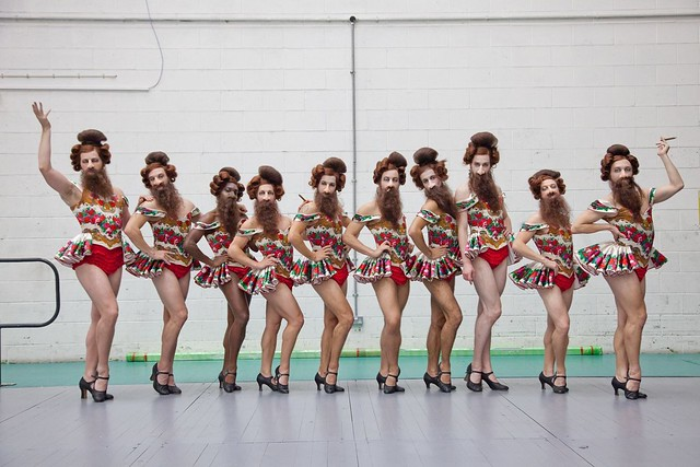 The Nose dancers backstage as costume designer Buki Shiff's bearded ladies, The Nose, The Royal Opera © ROH 2016. Photograph is by Neil Gillespie