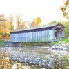 Covered bridge spanning the Flat River #autumn #puremichigan #bridge