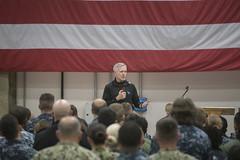 SECNAV holds an all-hands call at Naval Air Station Sigonella.