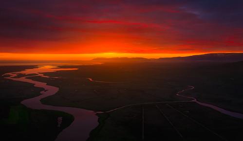 iceland sunrise explore adventure aerial drone dji inpsire1 pro kirkjufell akureyri sunset midnightsun river