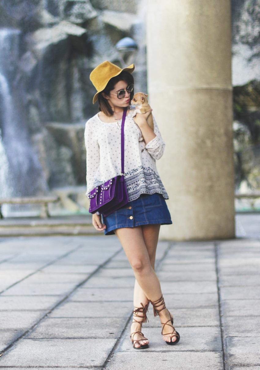 Como combinar falda con botones denim tendencia boho chic streetstyle myblueberrynightsblog