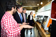 Deputy Secretary of State Antony 'Tony' Blinken and Ambassador Sung Kim, Special Representative for North Korea Policy, receive a briefing and tour of Fab Lab Seoul in South Korea by Fellow Edward Martin on October 7, 2015. Founded by Ko San, Fab Lab Seoul is a public open space where tools for digital fabrication, such as 3D printers and laser cutters, are available for startups and makers. [State Department photo/ Public Domain]