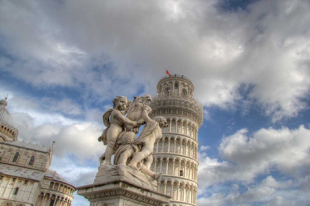 Details around the Field of Miracles and Leaning Tower of Pisa