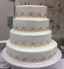 White Rolled Fondant with Gold Stenciling Around