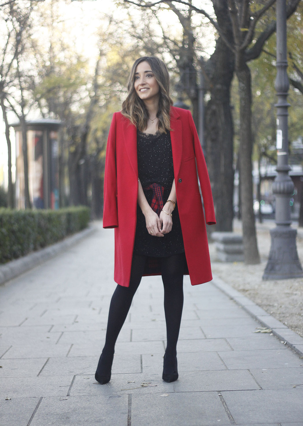 Red Coat With Party Black Dress Mango Outfit Style 02