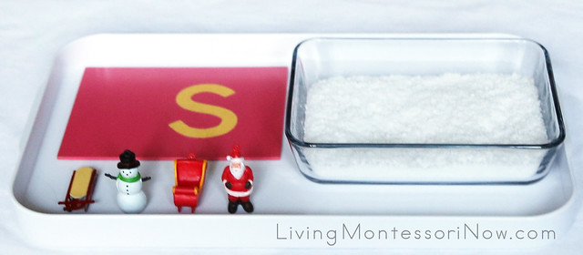 Letter Sound /s/ Tray with Instant Snow Sensory Bin.