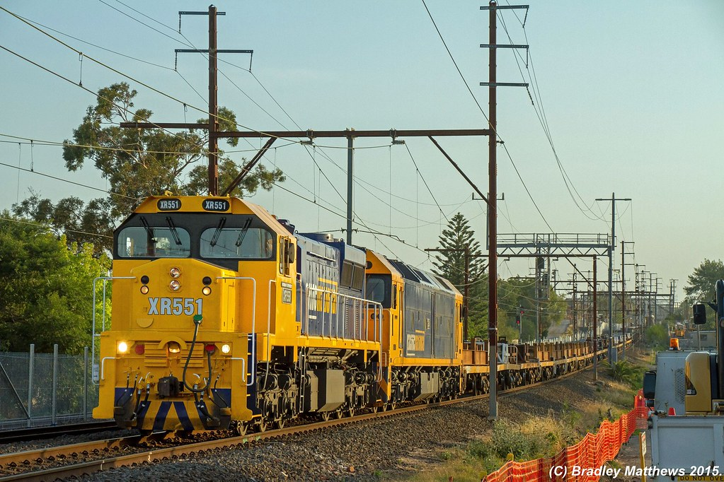 XR551-G541 with 9558 up empty PN Long Island steel goods at McKinnon (22/12/2015) by Bradley Matthews
