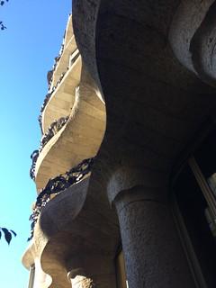 Image of Casa Milà near Eixample. barcelona catalonia catalunya catalonha cataluña kingdom spain reino de españa eixample dreta leixample vila gràcia casa milà la pedrera miracle home passeig batlló dels ossos house bones