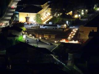 Veduta Notturna su scavi antistante Certosa di Padula.