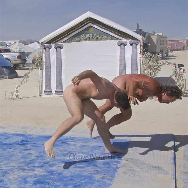 naturist wrestling camp Gymnasium 0017 Burning Man, Black Rock City, NV, USA
